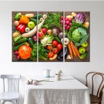 fresh vegetables and fruits wall art picture home decoration 3 piece