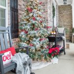 front porch flocked christmas tree outside spaces yard