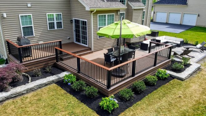 full backyard renovation deck patio and landscaping
