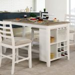 furniture of america biaz rustic white 63 inch counter table antique white