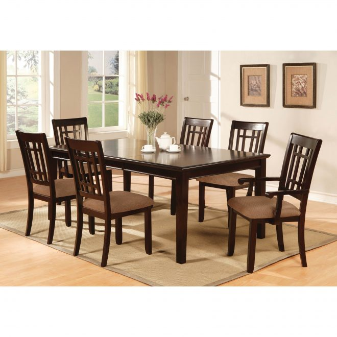 furniture of america cramer 7 piece dining table set dark cherry