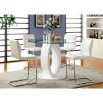 furniture of america damore contemporary 5 piece counter height high gloss round dining table set white