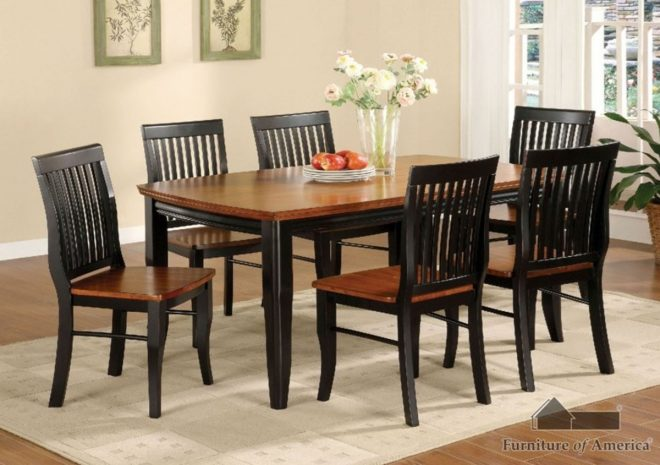 furniture of america earlham dining room set in antique oak and