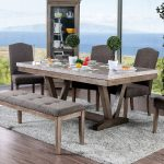 furniture of america emmiyah rustic genuine marble dining table natural