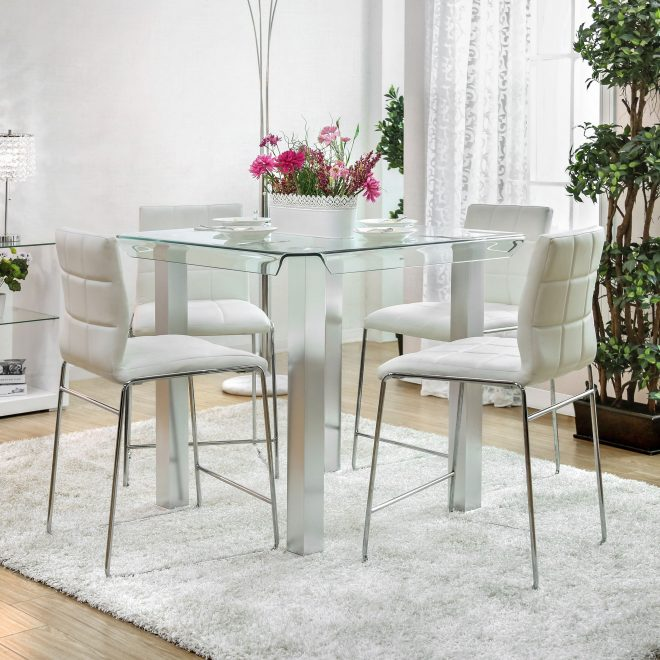 furniture of america ezreal silver glass counter height dining table