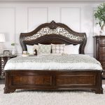 furniture of america menodora king sleigh bed in brown cherry cm7311ek