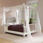 furniture of america morn traditional white fabric padded canopy bed