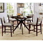 furniture of america pone modern cherry solid wood 5 piece dining set