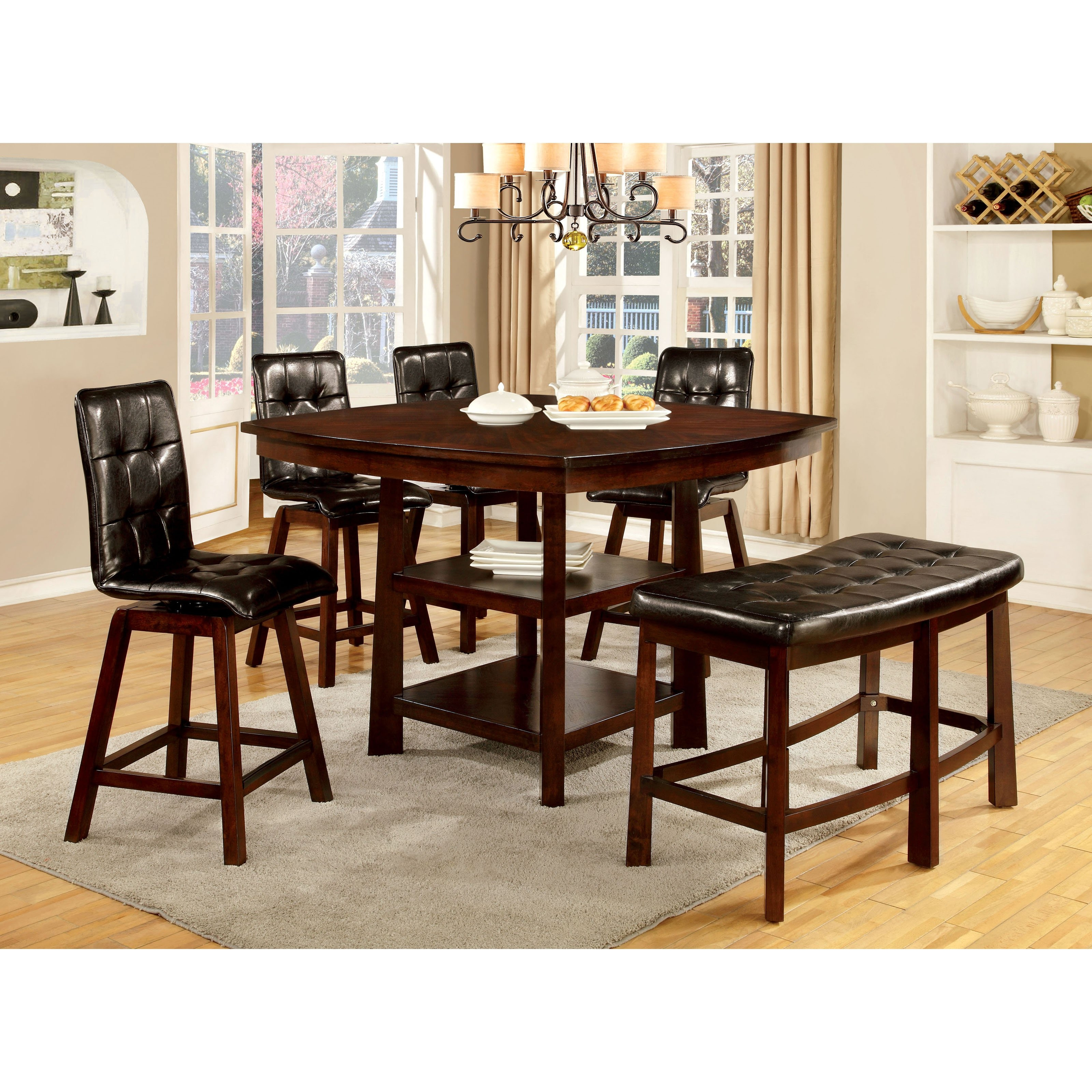 furniture of america rathbun modern 6 piece counter height dining table set with swivel chairs