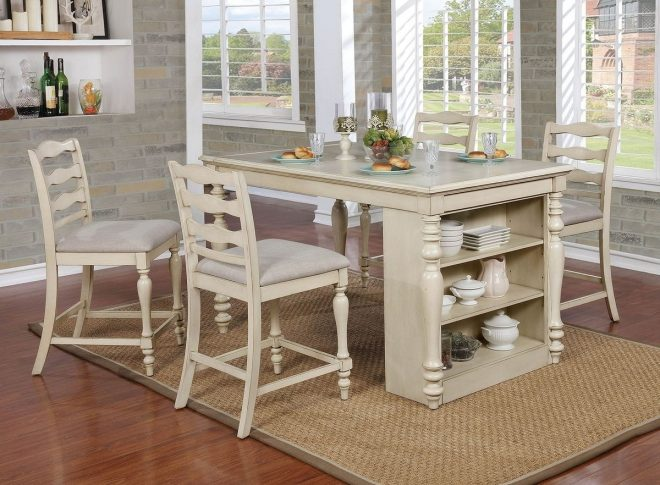 furniture of america theresa counter height dining room set in antique white