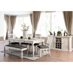 furniture of america tyler rustic farmhouse dining table antique white