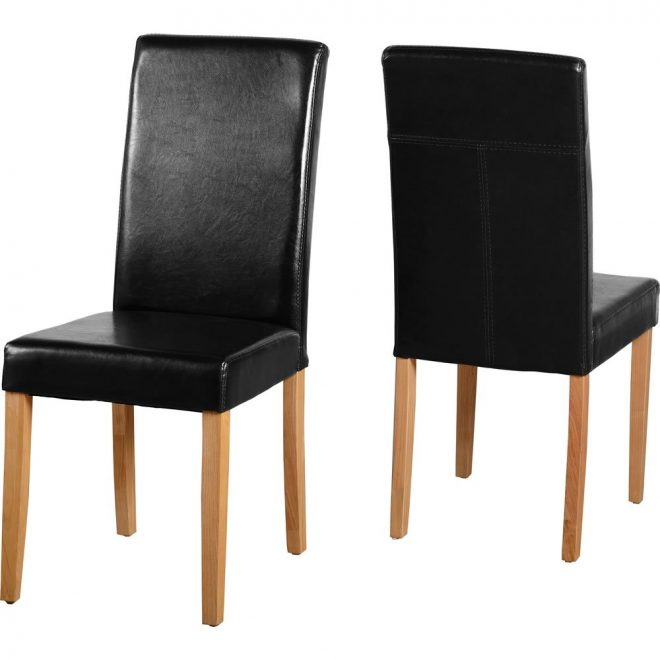 g3 set of 2 black faux leather dining chairs
