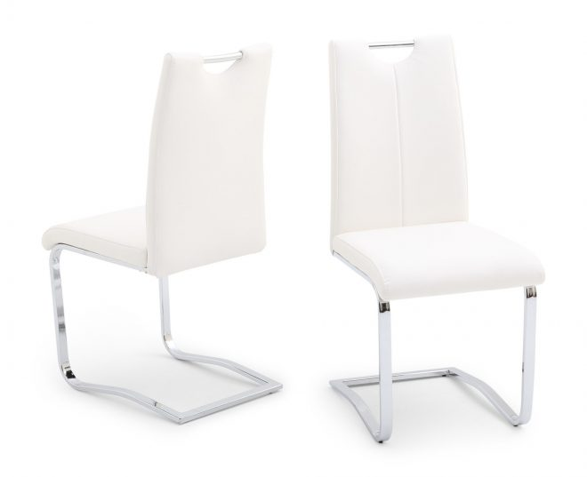 gabrielle white leather dining chair
