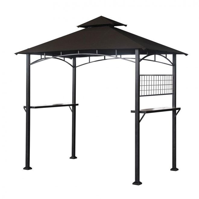 garden winds replacement canopy top for the tile grill bbq gazebo beige