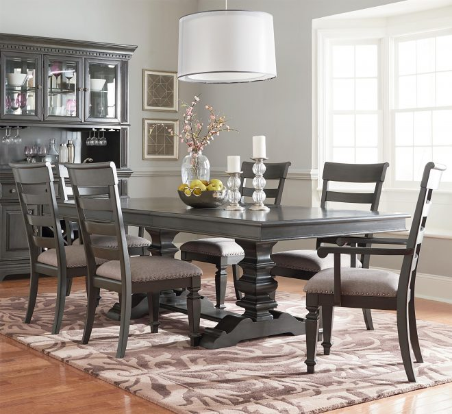 garrison trestle table dining set with six chairs standard furniture at rooms for less