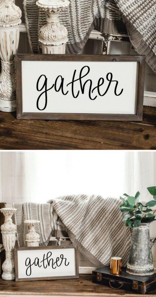 gather sign adds the perfect touch to farmhouse style home