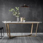 gats contemporary marble dining table white and gold