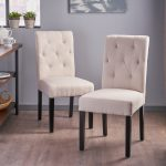 gentry tufted fabric dining chair set of 2 christopher knight home