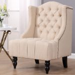 giantex modern tall wing back tufted accent armchair fabric