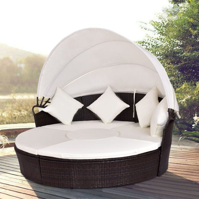 giantex outdoor patio canopy cushioned daybed round
