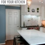 give your renovated all white kitchen a pop of color with behr