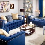 glamour navy blue living room decor blue velvet sofa