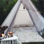 glamping boho bohemian style camp out in the backyard