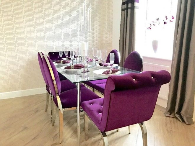glass dining table and 6 purple velvet chairs shoshone immaculate in der dershire gumtree