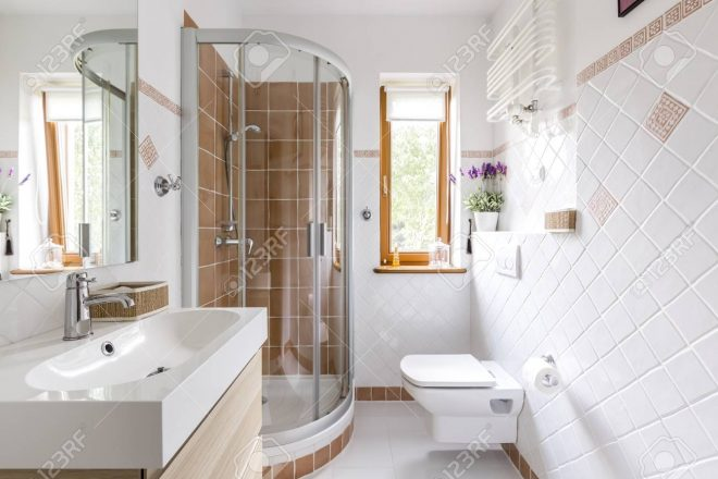 glass shower in small white bathroom with sink mirror and toilet