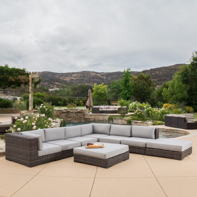 glenoaks 8 piece outdoor wicker sectional with sunbrella cushions christopher knight home