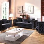glory black velvet faux diamond button tufted 3 piece living room set reviews goedekers