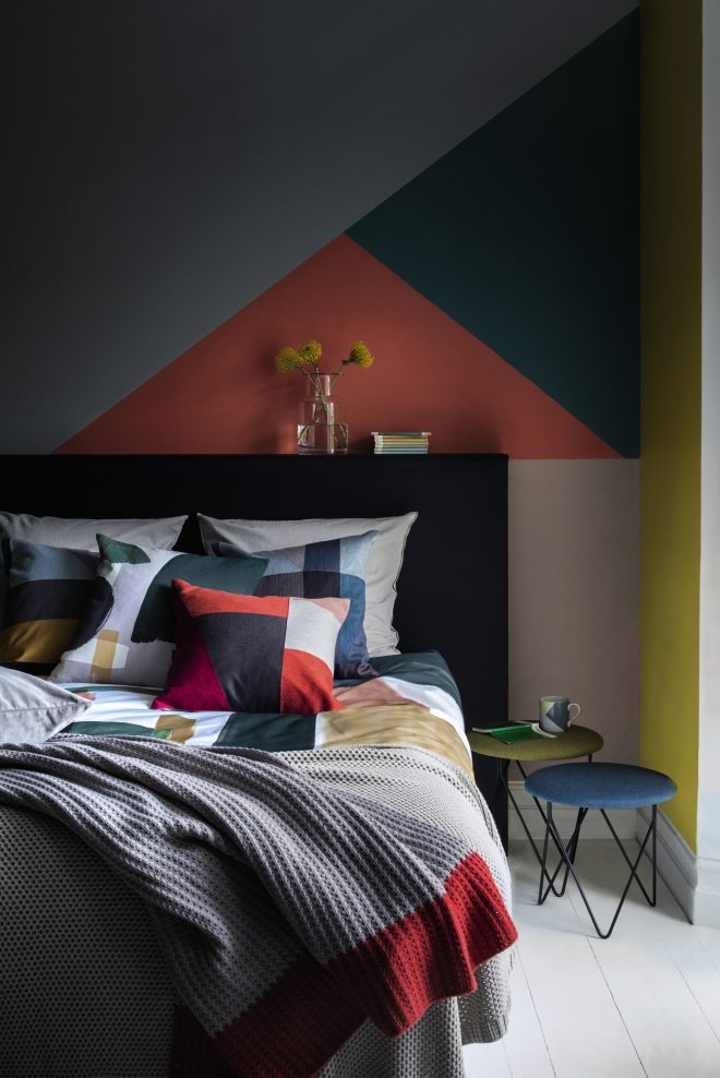 go graphic with this colourful and contemporary bedroom idea