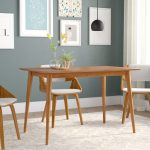 goodyear mid century modern solid wood dining table