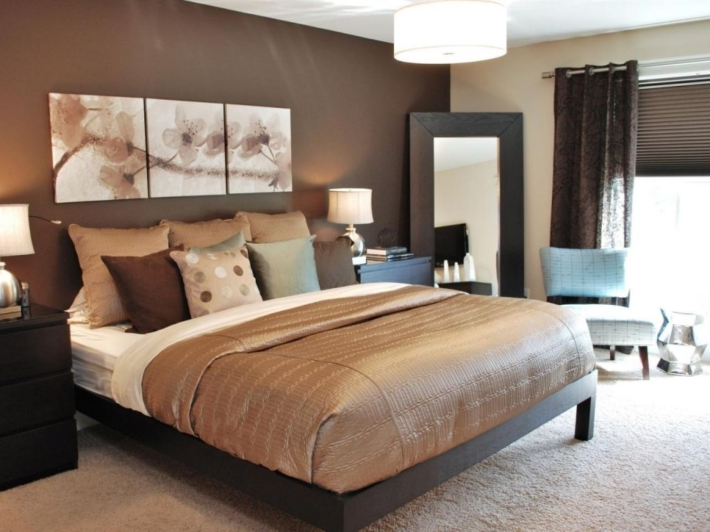 gorgeous chocolate brown master bedroom with dark storage fluffy rug