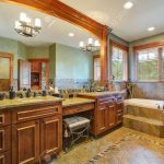 gorgeous master bathroom features double bathroom vanity with