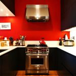 gorgeous small modern kitchen with red and black color idea and