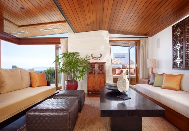 gorgeous wood ceiling design idea above living room with leather