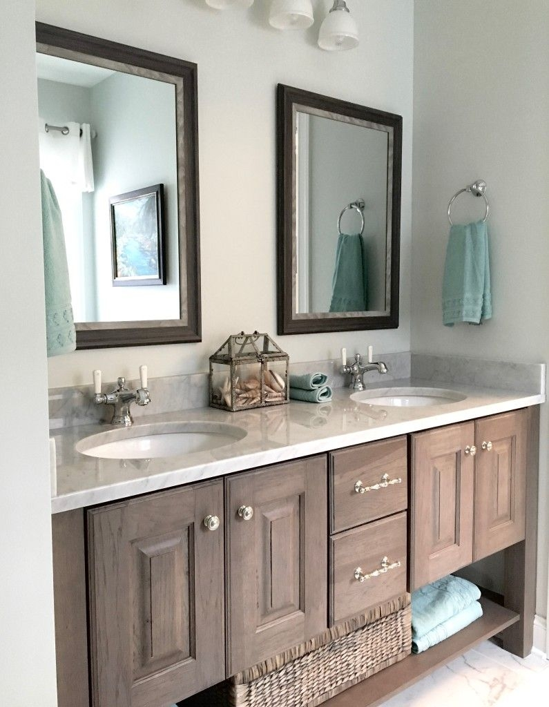 gray pickled pine and glazed bath vanity and carrera marble in the