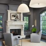 gray trim white walls living room transitional with neutral