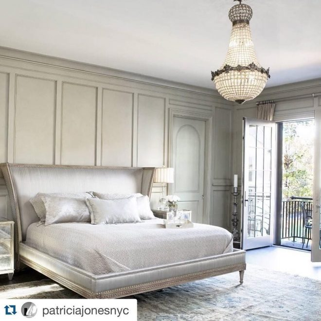 great bedroom and love the french empire style chandelier