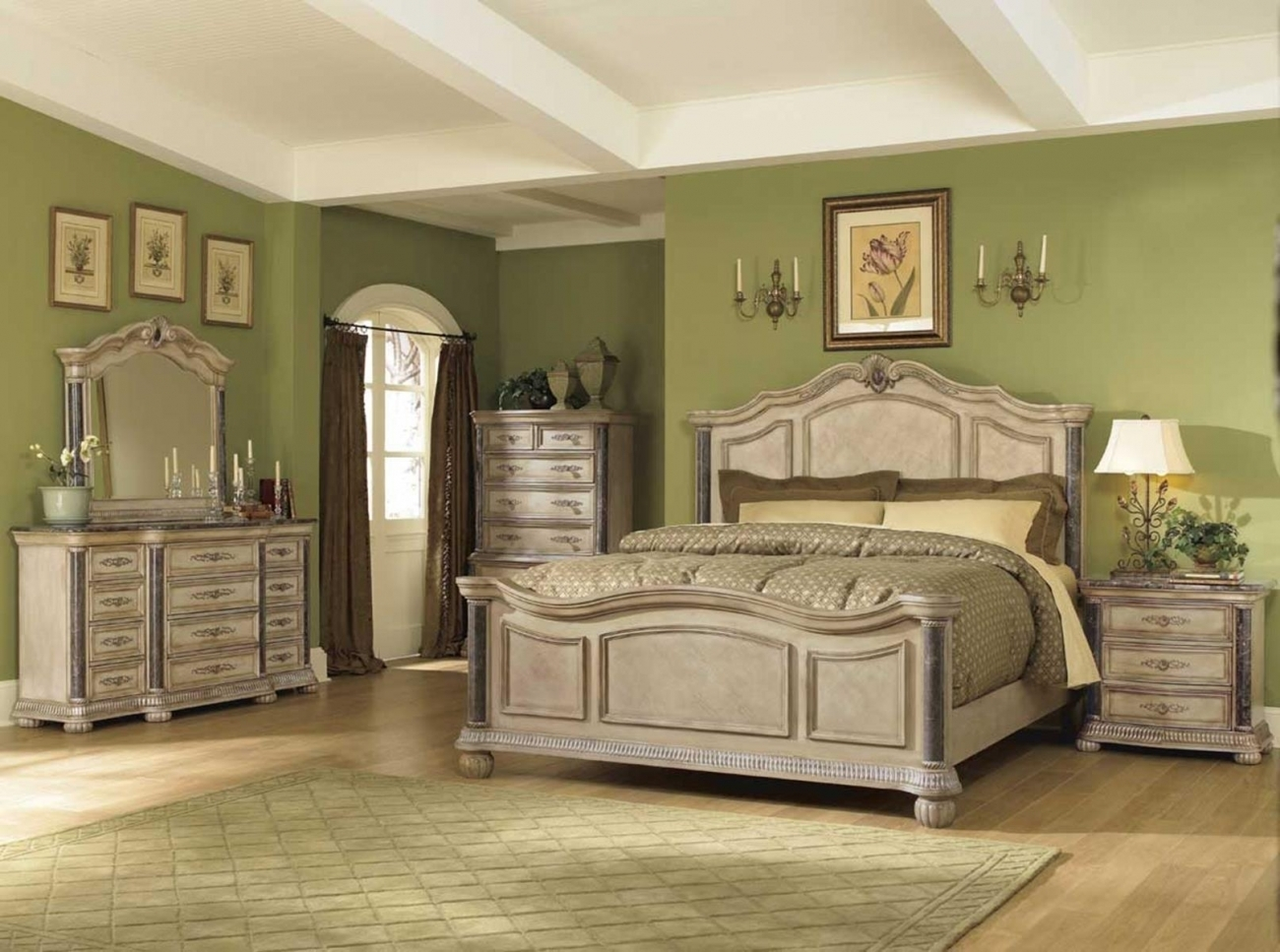 green bedroom with vintage and classic style furniture queen bedroom