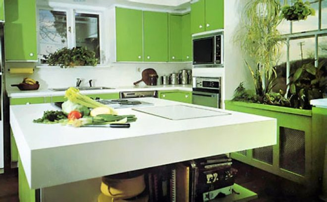 green kitchen cabinet with nice look on the edge of detailing warm