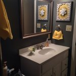 grey and yellow bathroom needs a pretty floral shower