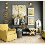 grey and yellow living room modern style home design ideas