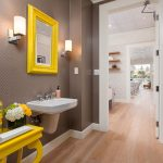 grey walls and yellow accents bathroom decorating ideas