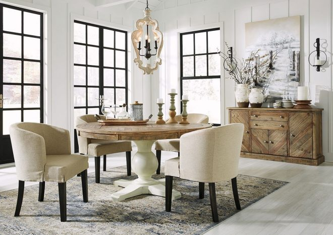 grindleburg round dining room set w low back chairs