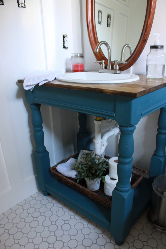 guest bathroom how to build a farmhouse vanity all things