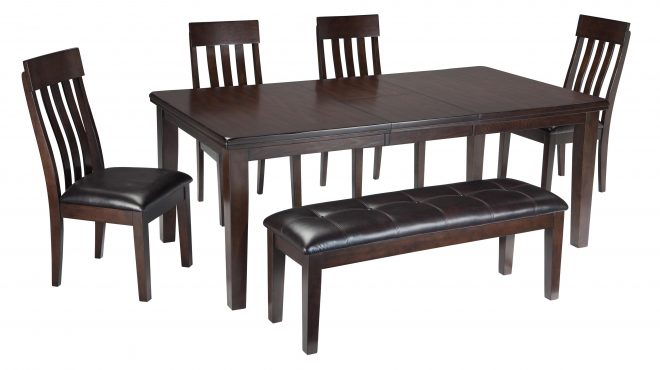 haddigan 6 piece rectangular dining room table w 4 upholstered dining side chairs and upholstered dining bench set signature design ashley at