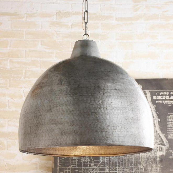 hammered steel oversized dome pendant diy projects
