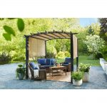 hampton bay 10 ft x 10 ft steel and aluminum outdoor patio arched pergola with slide canopy